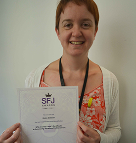 Helen Dobson With Her Level 3 Assessor Certificate