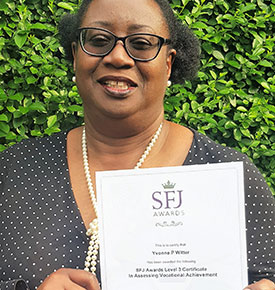 Yvonne Witter With Her L3 Assessor Certificate