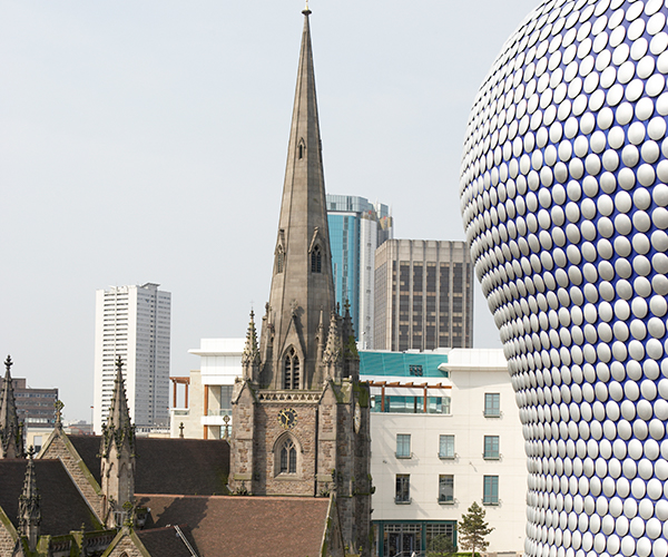 Birmingham Bullring And Church Spire