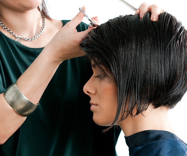 Hairdresser with scissors and comb cutting model's hair