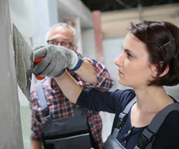 Apprentice Plasterer With Tutor