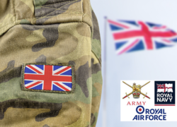Army Soldier With Union Jack And Armed Forces Logos